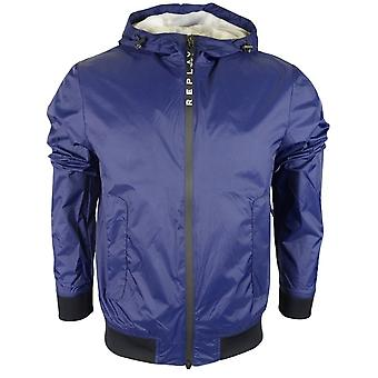 Replay Polyester Slim Fit Blue Jacket