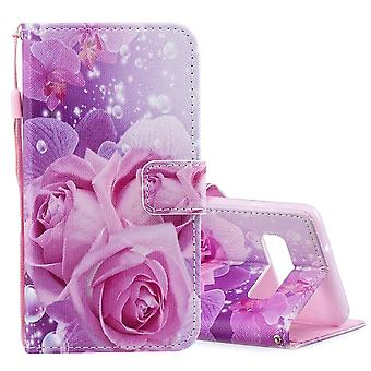 For Samsung Galaxy S10 Case Rose Pattern PU Leather Folio Cover