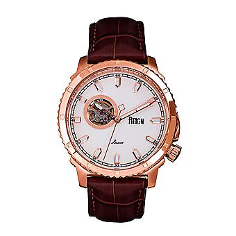 Reign Bauer Automatic Semi-SkeletonLeather-Band Watch - Rose Gold/White