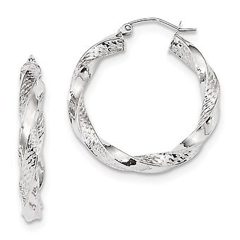 29.92mm 10k White Gold Polished and Textured Twist Hoop Earrings Jewelry Gifts for Women - 3.0 Grams