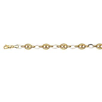 925 Sterling Silver Yellow and Two tone Hollow Puff Link And Oval Links Bracelet 7.50 Inch Jewelry Gifts for Women
