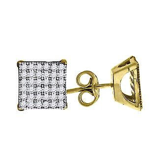 10k Two tone Gold Mens CZ Cubic Zirconia Simulated Diamond Cubic Zirconia Square Stud Earrings Measures 8.4x8.40mm Wide