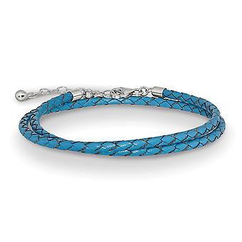 925 Sterling Silber Reflexionen blau Leder mit 2in Ext Halsband Wrap Armband Schmuck Geschenke für Frauen