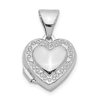 925 Sterling Silver Rhodium pläterad 10mm Love Heart Foto Medaljong Hängande Halsband Smycken För Kvinnor
