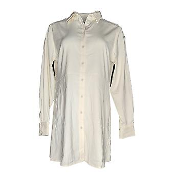 Susan Graver Women's Top Stretch Peachskin Button Front Shirt Ivory A367778