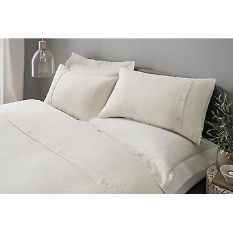 Waffle Cream Duvet Cover Bedding Set con Pillowcases - Double