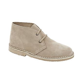 Roamers Light Taupe Real Suede Ladies 2 Eye Desert Boot Unlined Tpr Sole