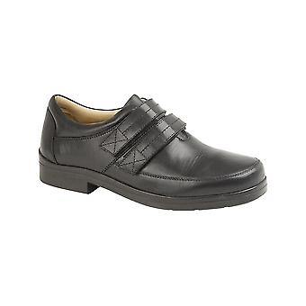 Roamers Black Leather Xxx Extra Wide Touch Fastening Superlight Casual Shoe