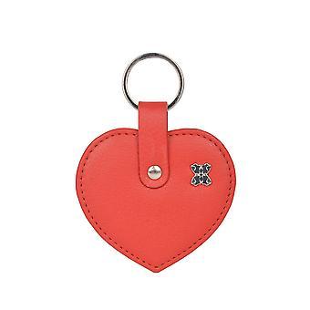 Läder Hjärta Nyckelring i rött
