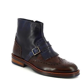 ليوناردو أحذية الرجال & ق المصنوعة يدويا brogues أحذية الكاحل في جلد العجل الأزرق بورجوندي