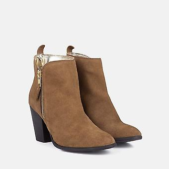Genevieve tan suede ankle boot