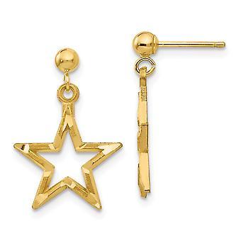 14k keltainen kulta kiillotettu ja satiini kiillotettu ja kimallus Cut Star Dangle Post korvakorut korut lahjat naisille
