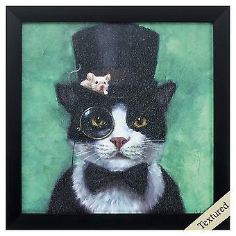 """11"""" X 11"""" Black Frame Tuxedo Cat"""