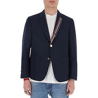 Thom Browne Mju505a06147415 Men's Blue Wool Blazer