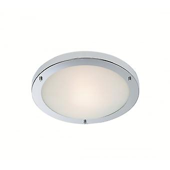 Firstlight Lima Modern Chrome Opal Glass Flush Ceiling Light