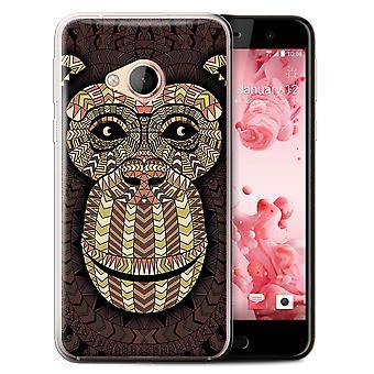 STUFF4 Gel TPU Case/Cover for HTC U Play/Alpine/Monkey-Sepia/Aztec Animal Design