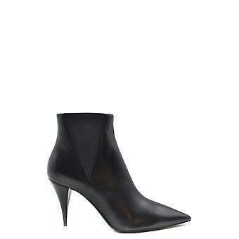 Saint Laurent Ezbc022039 Women's Black Leather Ankle Boots