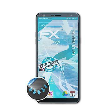 atFoliX 3x Écran protecteur compatible avec LG Stylo 5x Protecteur d'écran clair&flexible