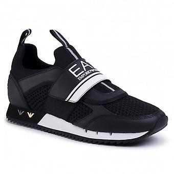 EA7 Emporio Armani Black Mesh Velcro Running Style Trainers X8X066 XK050