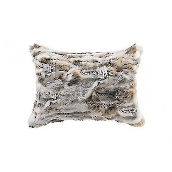 "5"" x 12"" x 20"" 100% Natural Rabbit Fur Tan and White Pillow"