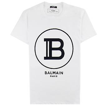 Balmain gedruckt Balmain Paris Logo T Shirt weiß