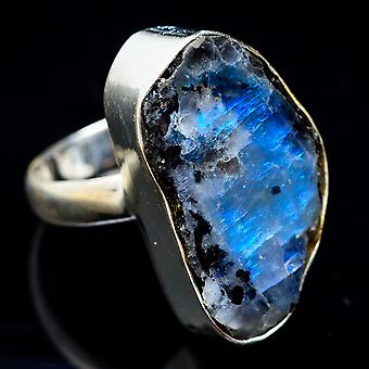 Rough Rainbow Moonstone Ring Size 7 (925 Sterling Silver)  - Handmade Boho Vintage Jewelry RING3463