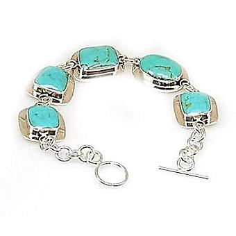 925 Silver Turquoise Multi Shape T-Bar Style Bracelet By The Olivia Collection