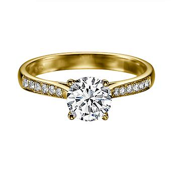 0.72 Carat F SI2 Diamond Engagement Ring 14K Yellow Gold with Accents Channel Set Cathedral