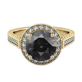 2.60 CTW 14K Gelb Gold Schwarz-Diamant-Ring mit Diamanten Halo filigran mit Akzenten