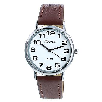Ravel Classic Analogue Jumbo White Dial Brown PU Strap Gents Dress Watch R0105.32.1A