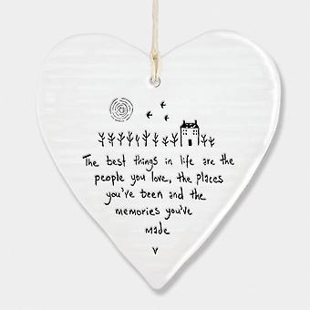 East of India Hanging Porcelain Heart 'The best things in life..' Gift