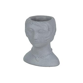 Rytande 20' s Flapper Lady Gray Concrete Head Mini Planter 6 Inches Tall