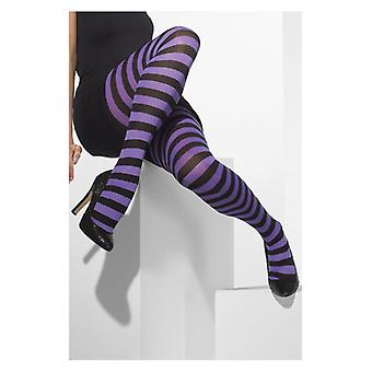 Womens lila & schwarze blickdichte Strumpfhose Fancy Dress Zubehör