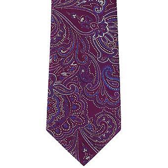Michelsons af London dekorative Paisley silke slips - Magenta