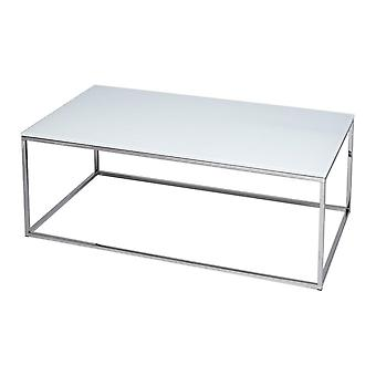 Gillmore valkoinen lasi ja hopea metalli nykyaikainen suorakulmainen sohvapöytä