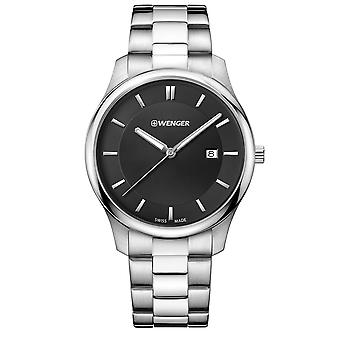 Wenger City Classic Black Dial Stainless Steel Bracelet Men's Watch 01.1441.104 RRP £99