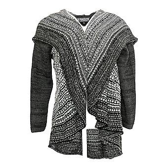 Pyramid Collections Women's Lg Slvs Open Front Collar Print Sweater Black