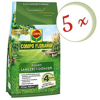 Sparset: 5 x COMPO Floranid® Long-term lawn fertilizer, 12 kg