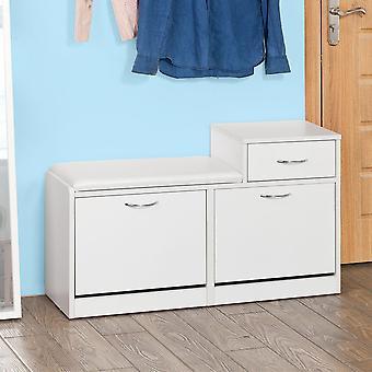 SoBuy FSR17-W, Banc de rangement de chaussures avec siège et tiroir coussinés, armoire à chaussures à tiroir à trois niveaux, blanc