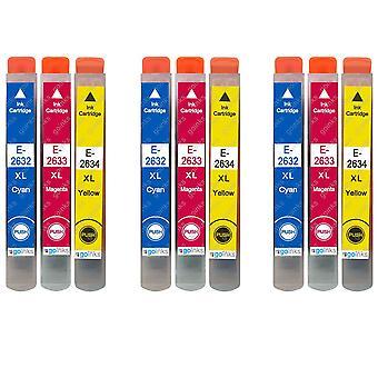 3 Sett med 3 blekkpatroner som skal erstatte Epson T2636 (26XL-serien) C/M/Y-kompatibel/ikke-OEM fra Go-blekk (9 blekk)
