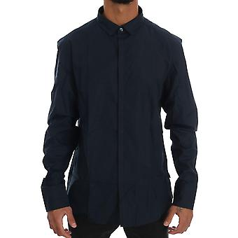 Costume National Blue Cotton Slim Fit Casual Shirt