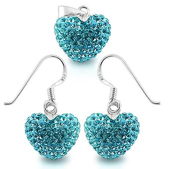 925 Sterling Silver Crystal stone Heart Jewelry Set