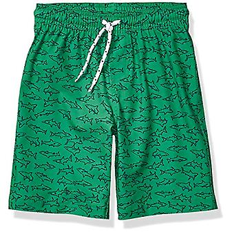 Essentials Boys' Big Swim Trunk, Green Sharks, Large