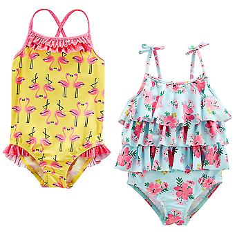 Simple Joys by Carter's Baby Girls' Toddler 2-Pack One-Piece Swimsuits, Yello...
