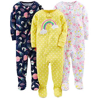 Simple Joys by Carter's Baby Girls' 3-Pack Snug-Fit Footed Cotton Pajamas, Di...