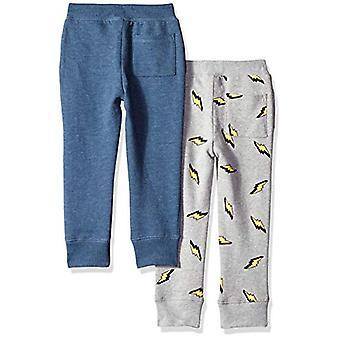 Brand - Spotted Zebra Toddler Boys' 2-Pack Fleece Jogger Pants, Navy H...