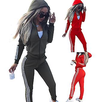 Feminino 2 Pcs Athleisure Sports Wear Tracksuit Hoodie & Pants Set