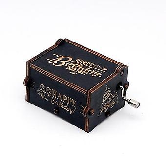 Happy Birthday Antique Carved Wooden Hand Crank Music Box