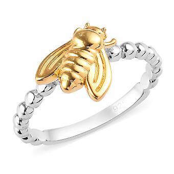 Anneau d'abeille pour femmes Sterling Argent Platine et Or jaune Plaqué TJC