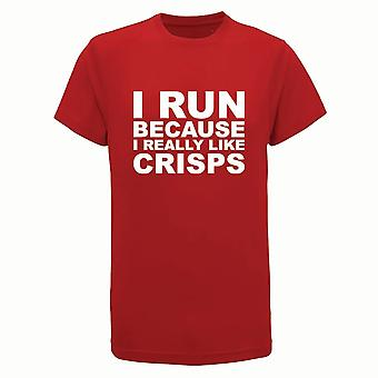I Run Because I really Like Crisps, Mens Tridri Activewear Fitness Gym Top